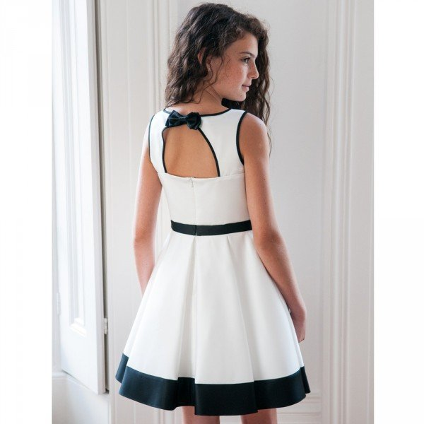 DAVID CHARLES Black & White Satin Dress with Bow