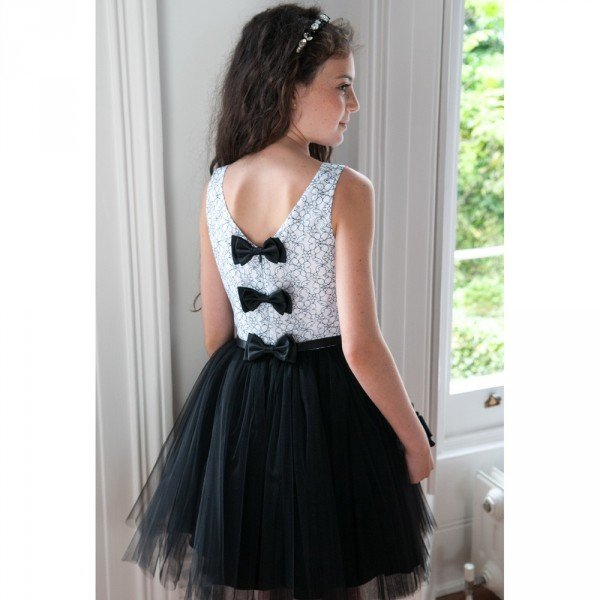 DAVID CHARLES Monochrome Lace & Tulle Dress
