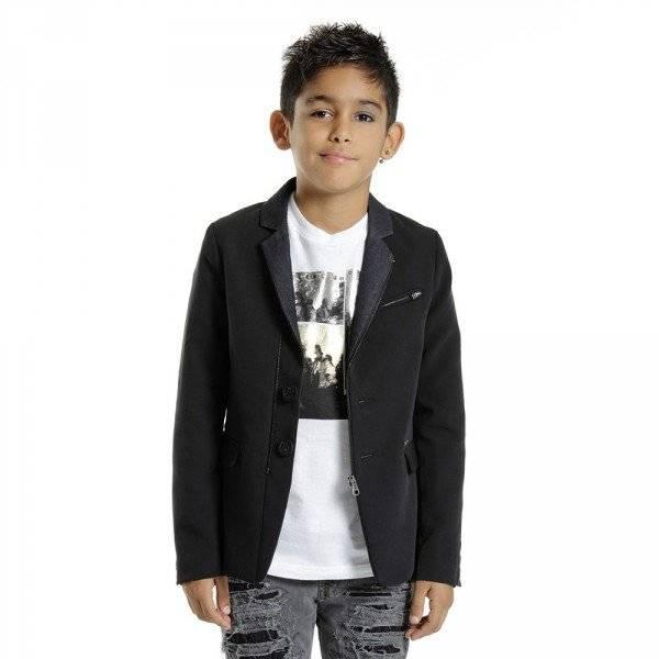 DIESEL KIDS Black Zip Up Button Blazer