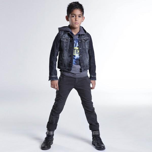 DIESEL KIDS Boys Blue Distressed Denim Jacket