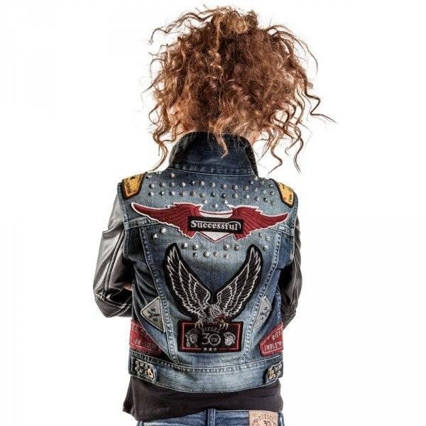 DIESEL KIDS Girls Denim & Leather 30th Anniversary Jacket