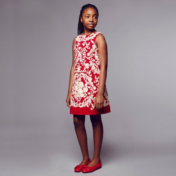 DOLCE & GABBANA Red & Ivory Embroidered Dress