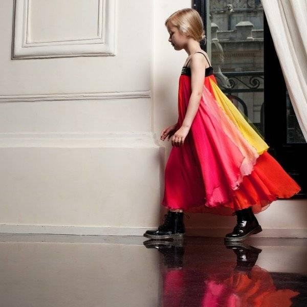 JUNIOR GAULTIER Bright Silk Maxi Dress with Swarovski Crystals