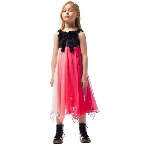 JUNIOR GAULTIER Pink Silk Chiffon Dress with Roses