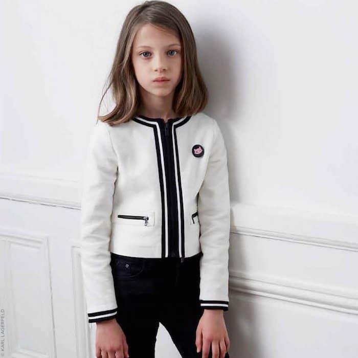 KARL LAGERFELD KIDS Tweed effect short jacket