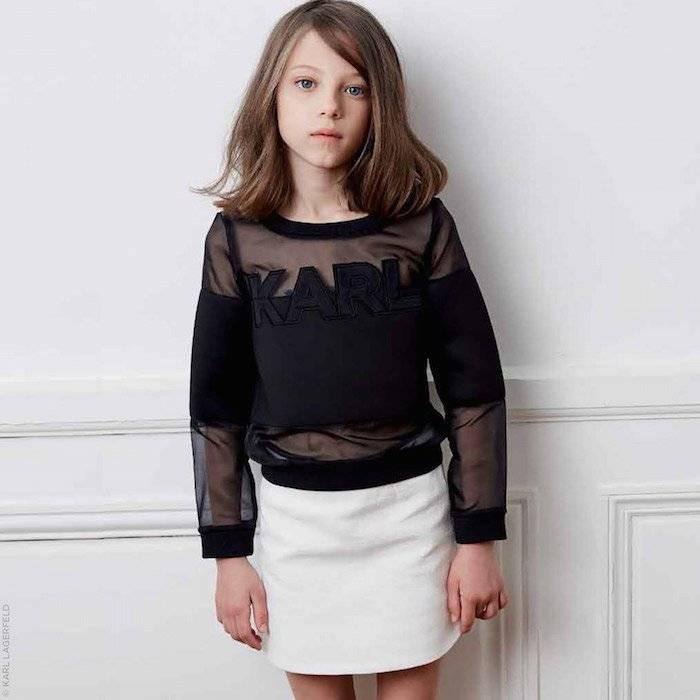 KARL LAGERFELD KIDS Tweed effect skirt and Black Shirt