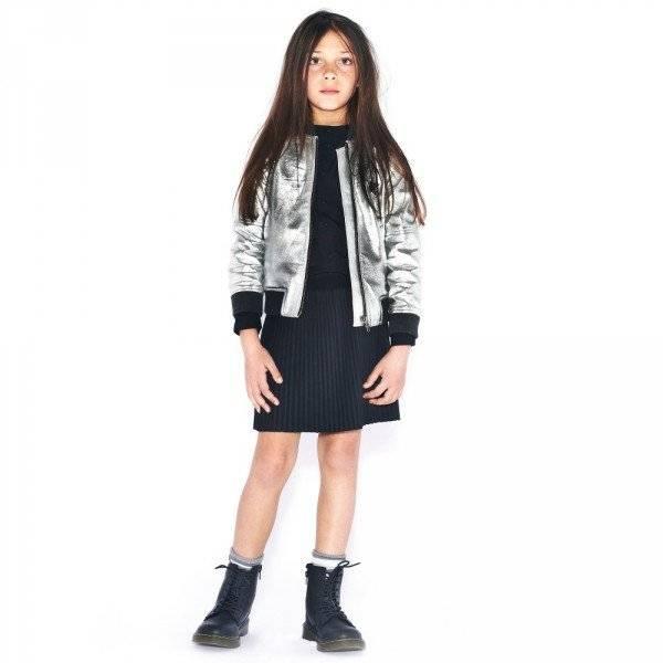 MOLO Girls Metallic Silver Leather 'Heaven' Jacket