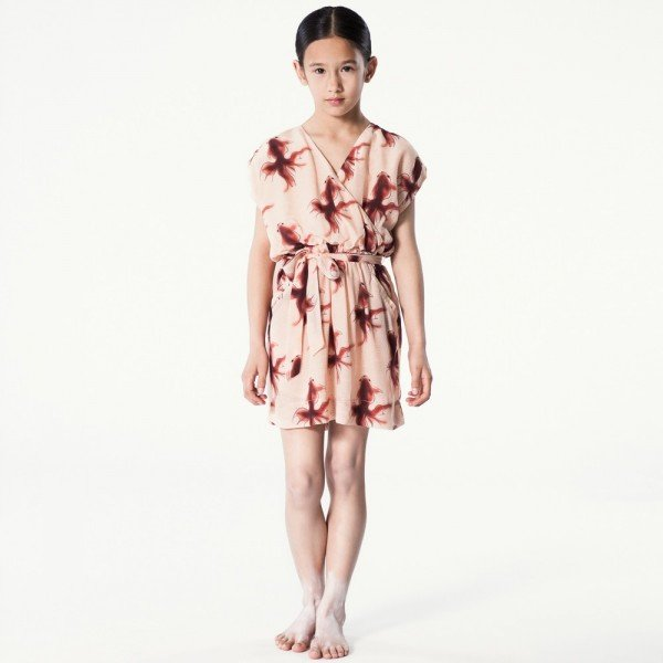 PALE CLOUD Pink Goldfish Print Silk Dress