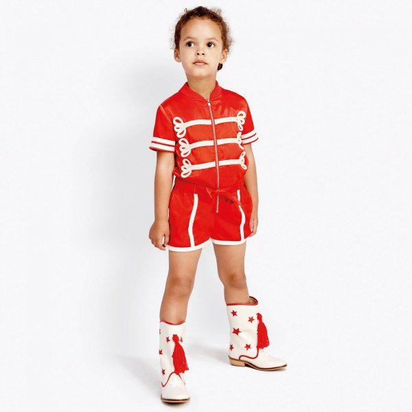 STELLA MCCARTNEY KIDS Girls Red Satin 'Mel' Playsuit