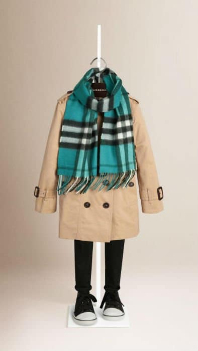 Aqua Burberry Kids Check Scarf