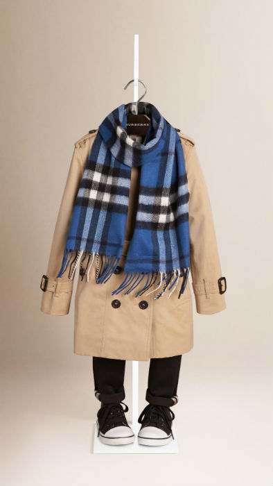 Blue Burberry Kids Checked Scarf