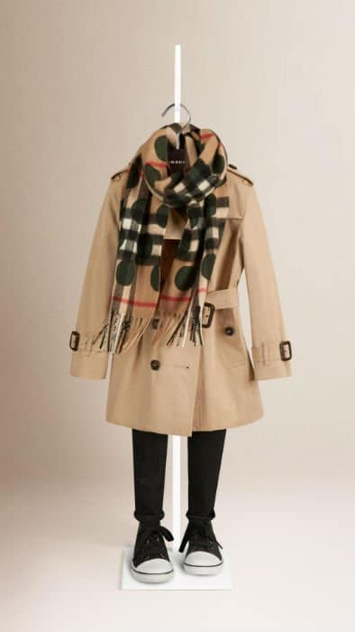 Camel Green Dot Burberry Kids Scarf