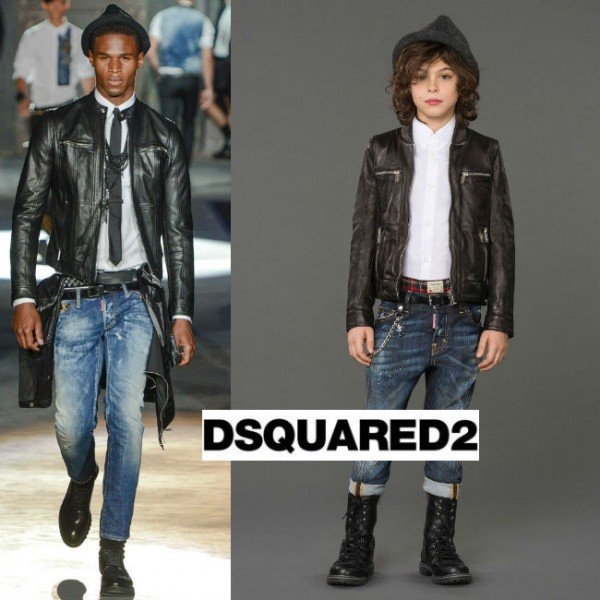 DSQUARED2 Boys Black Leather Jacket