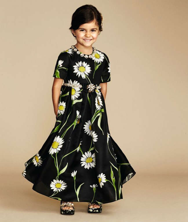 Dolce-Gabbana-Girls-Black-Daisy-Evening-Dress-Capsule-Collection