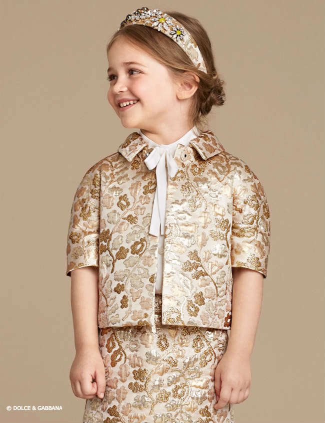 Dolce & Gabbana Girls Sparkling Night Gold Brocade Mini Me Look