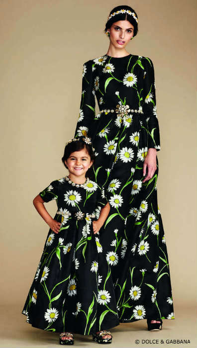 Dolce & Gabbana Mommy Mini Me Black Daisy Evening Dress
