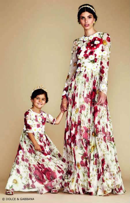 Dolce & Gabbana Mommy Mini Me Evening Dress Red White Flower