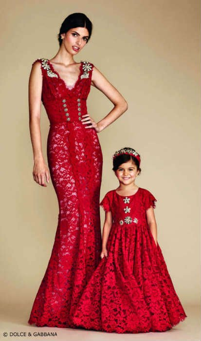 Dolce & Gabbana Mommy  Mini Me Red Lace Evening Dress
