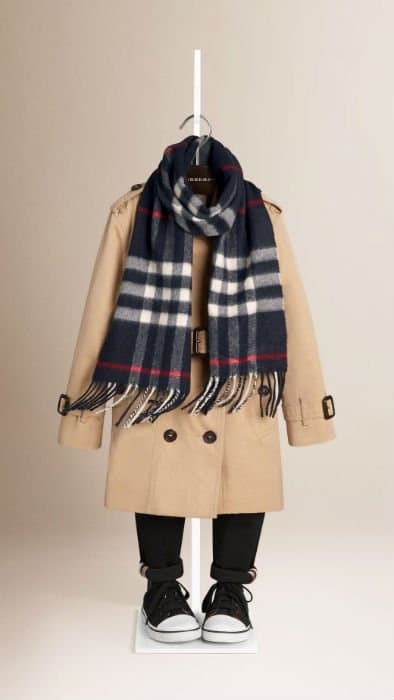 Grey Burberry Checked Scarf