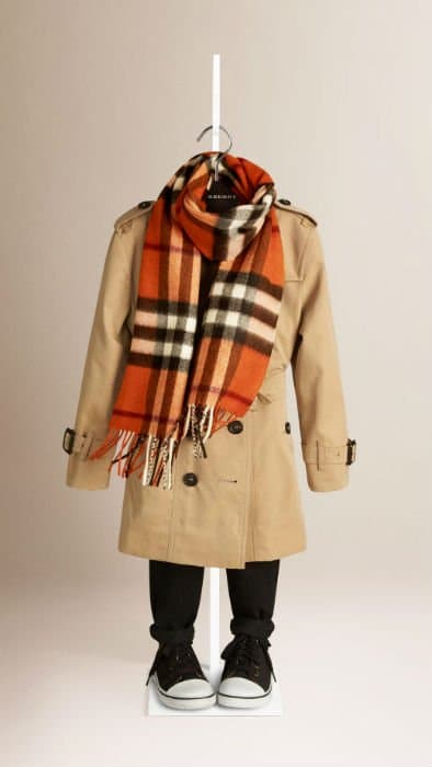 Orange Burberry Kids Checked Scarf