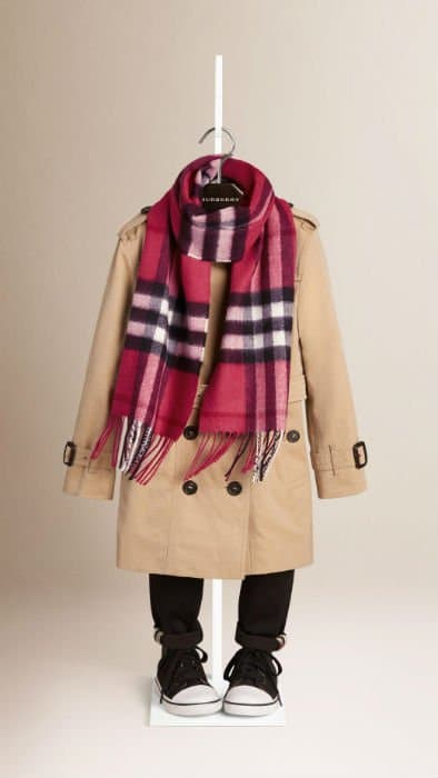 Pink Burberry Kids Check Scarf