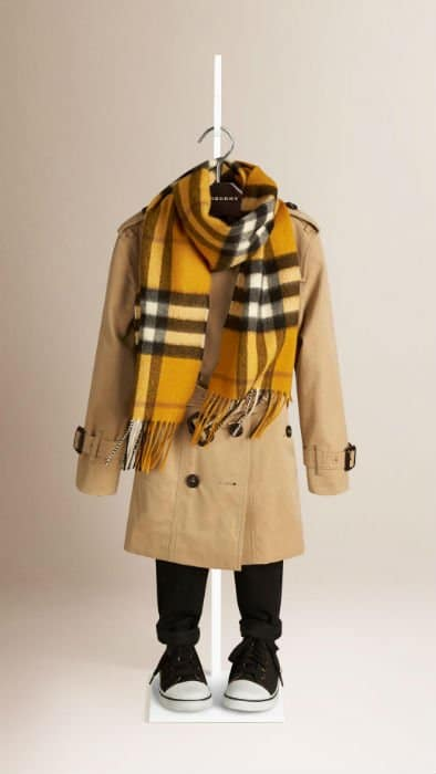 Yellow Burberry Checked Scarf