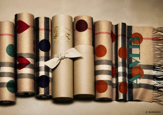 Burberry Cashmere Scarfs with Hearts and Dots