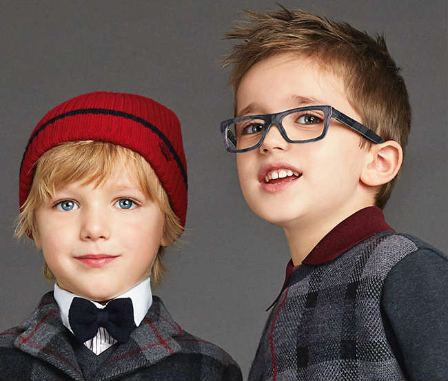 Boys Squared Glasses Grey Check Frame - DG 3205 2990