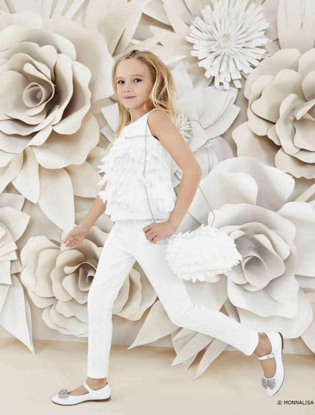 Monnalisa Girls White Floral Collection SS16