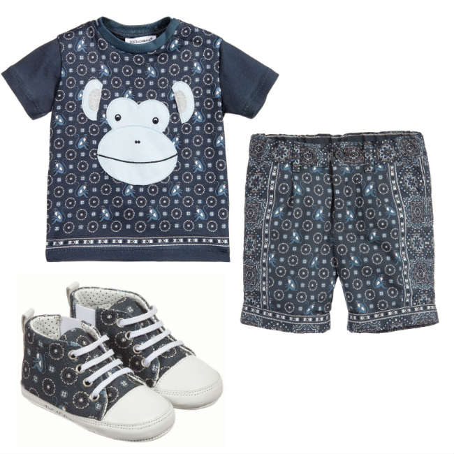 DOLCE & GABBANA Baby Boys Blue Monkey Cotton Jersey T-Shirt