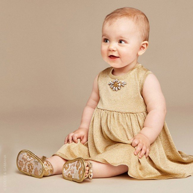 DOLCE & GABBANA Baby Girls Gold Knitted Lurex Dress
