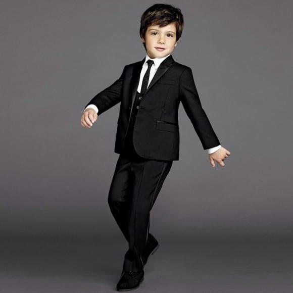 DOLCE & GABBANA Boys Black Wool & Silk 2 Piece Suit