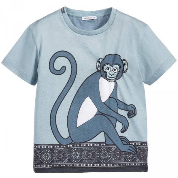 DOLCE & GABBANA Boys 'Blue Monkey' Print T-Shirt