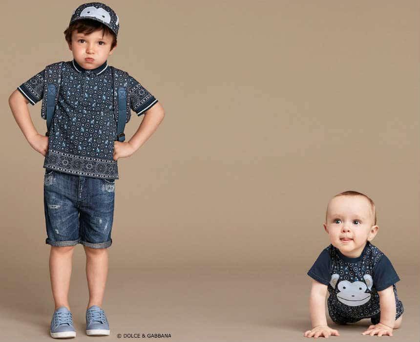 Dolce Gabbana Boys Blue Monkey Outfits Spring Summer 2016