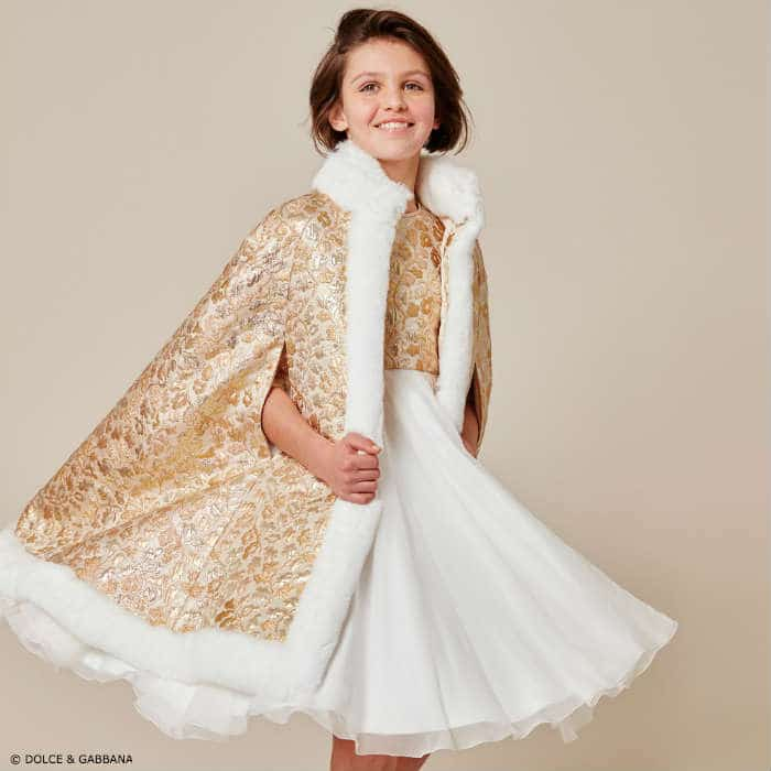Dolce & Gabbana Girls Brocade Cape Starry Night