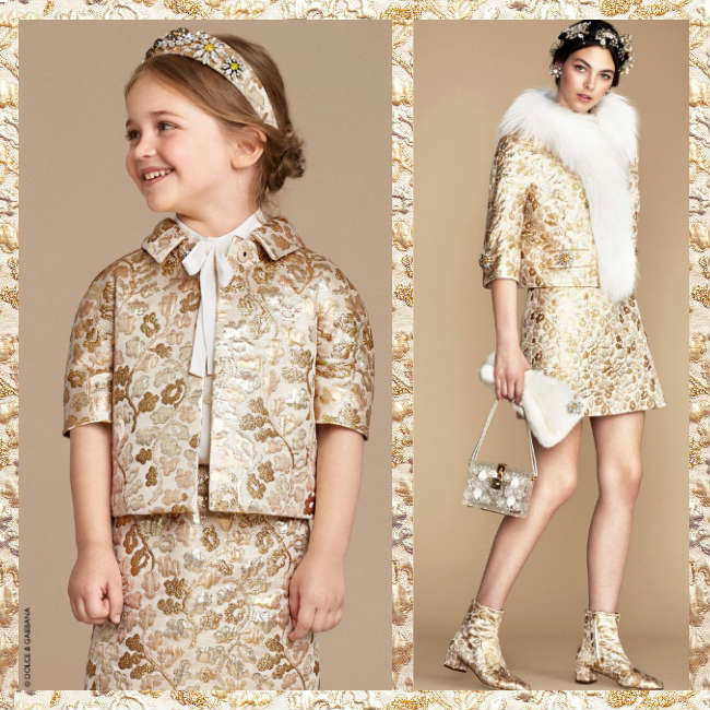 Dolce Gabbana Girls Mini Me Brocade Skirt Jacket