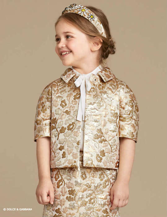 Dolce Gabbana Girls Sparkling Night Gold Brocade Mini Me Look