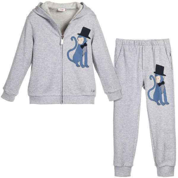 IL Gufo Boys Grey Cotton Monkey in Top Hat Tracksuit