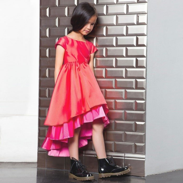 JUNIOR GAULTIER Orange & Pink Satin & Tulle Layered Dress