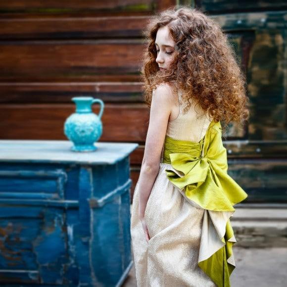 LAZY FRANCIS Cream Silk Maxi Dress with Green Silk Bow
