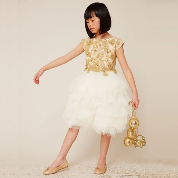 LESY LUXURY FLOWER Ivory & Gold Embroidered Tulle Dress