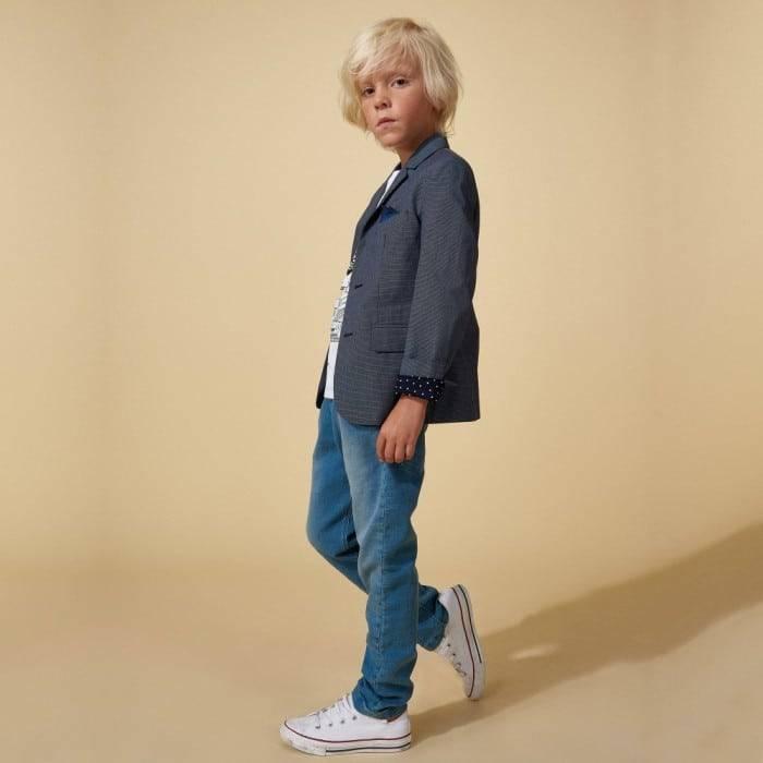LITTLE MARC JACOBS Boys Navy Blue Micro Check Blazer