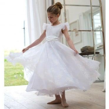 NICKI MACFARLANE Ivory Silk & Lace 'Grace' Ballerina Length Dress