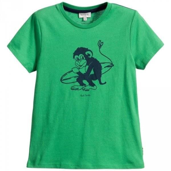 PAUL SMITH JUNIOR Boys Green & Blue Monkey 'Laye' T-Shirt