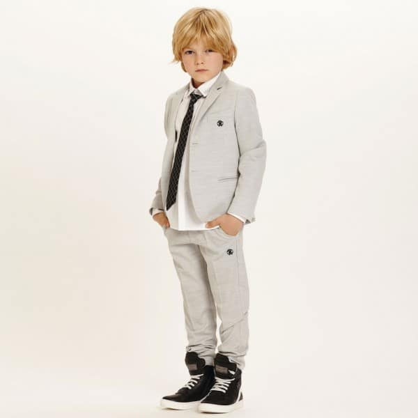 ROBERTO CAVALLI Boys Pale Grey Wool 2 Piece Suit