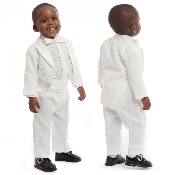 ROMANO VIANNI Boys Ivory 5 Piece Tuxedo Suit
