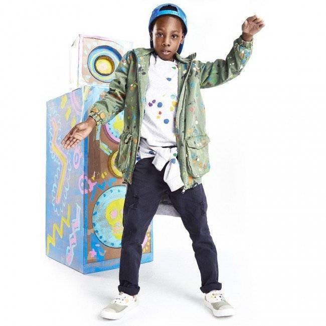 STELLA MCCARTNEY KIDS Green Organic Cotton Paint Splattered 'Jax' Jacket