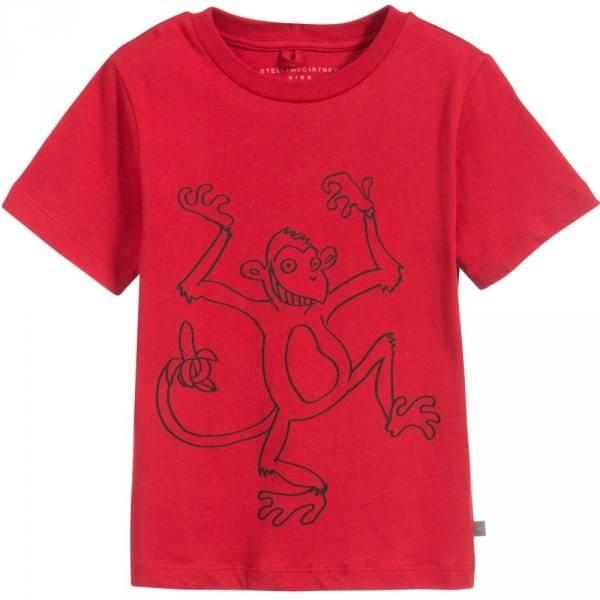 STELLA MCCARTNEY KIDS Red & Black Monkey 'Arlo' T-Shirt