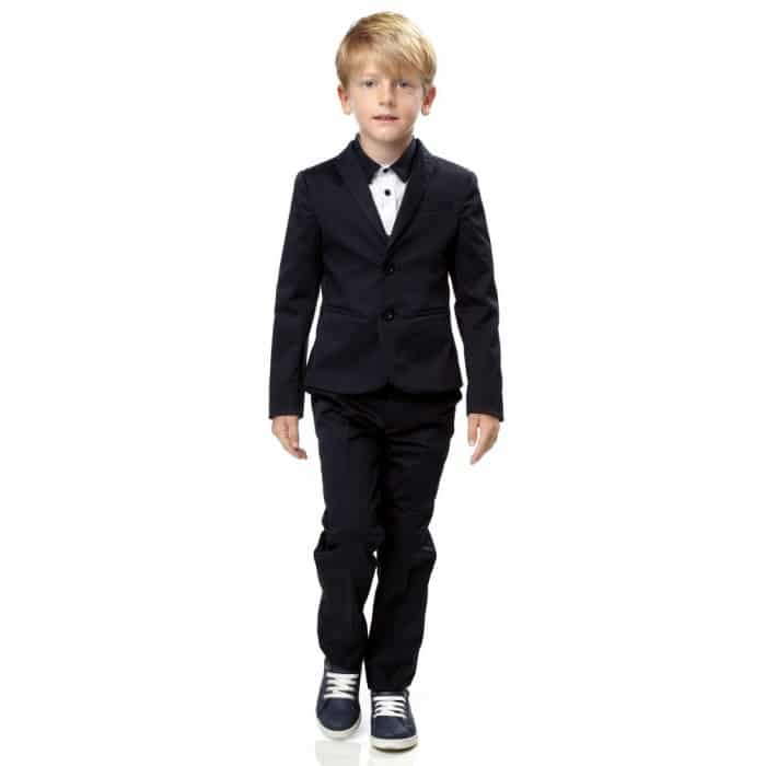 TRUSSARDI Boys 2 Piece Navy Blue Cotton Suit