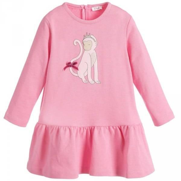 Il Gufo Girls Pink Cotton Monkey Princess Dress